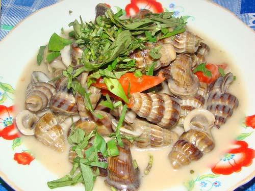 Ốc len xào dừa Cà Mau