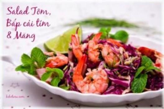 Salad tôm, măng và bắp cải