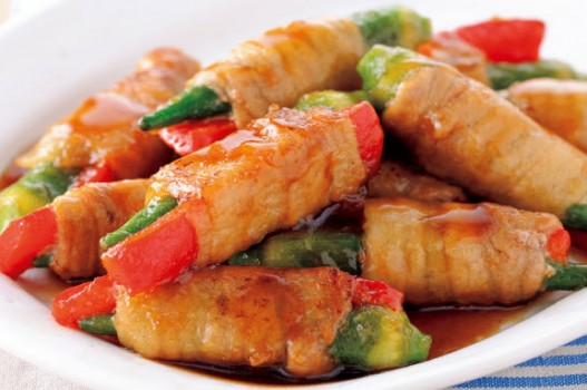 Thịt heo cuộn rau củ